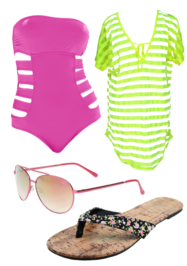 b03ed52f4d670 Cover Up: Francesca's Crystal Stripe Swim Cover-Up Sunglasses: Betsey  Johnson Pink Floral Aviators – Marshall's Flip Flops: Five Below
