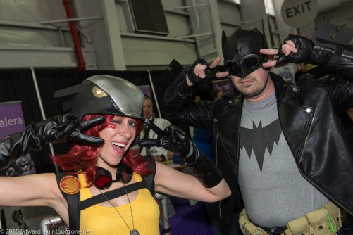 Dressing With Class as Bombshell Hawkgirl, with friend as Bombshell Batman.
