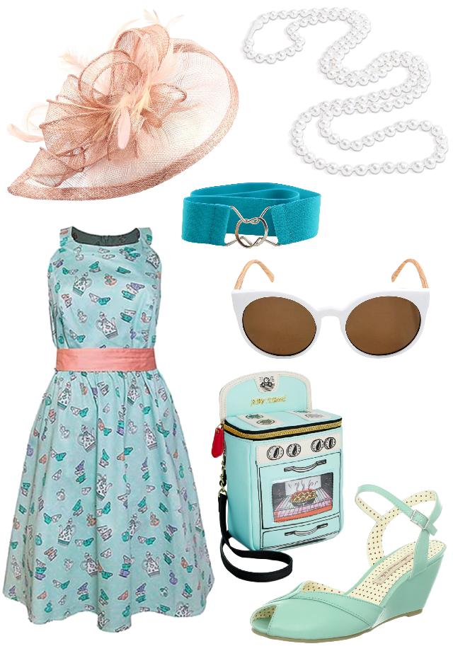 2df7316ed0d1 Mad Tea Party Dress: Disney Cherry Tree Lane Shop Fascinator: FeiYu Crafts  via Amazon Sunglasses: Hot Topic White and Wood Round Sunglasses